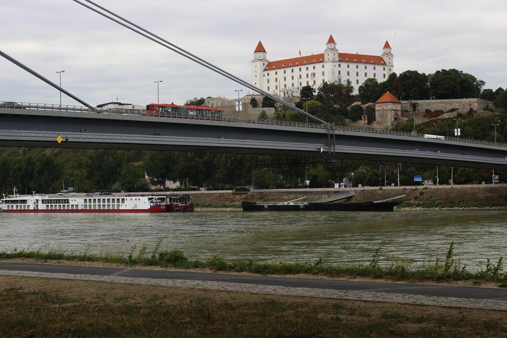 SNP Bridge and Bratislava Castle (Bratislava, Slovakia)