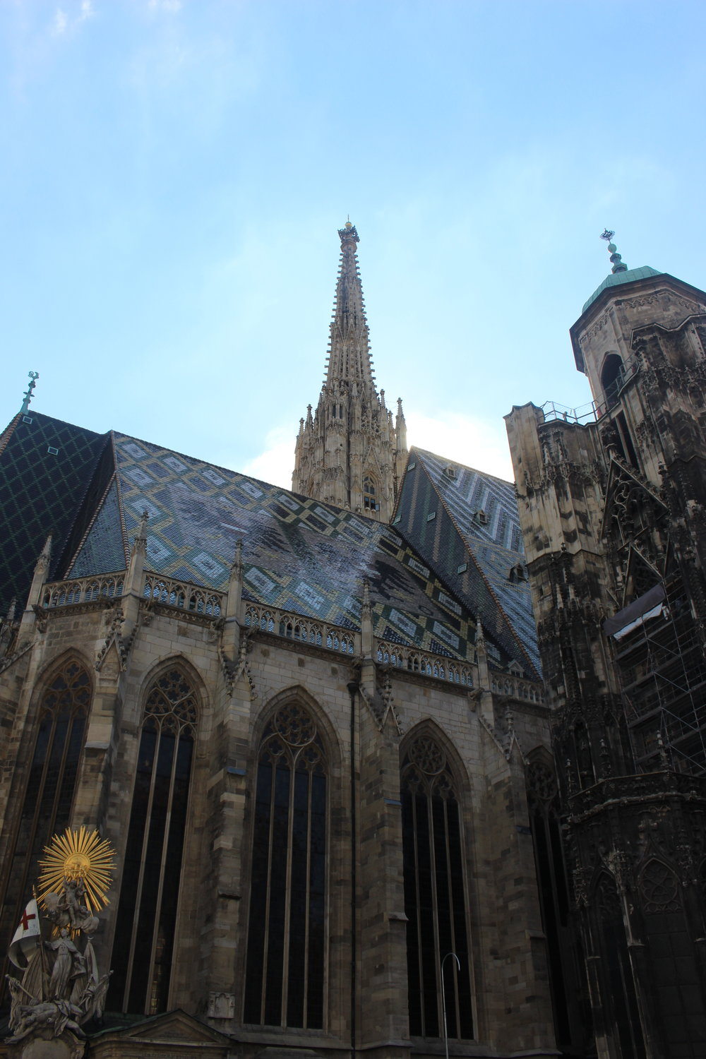 The city gave up on trying to clean the dirt from pollution off of the cathedral.