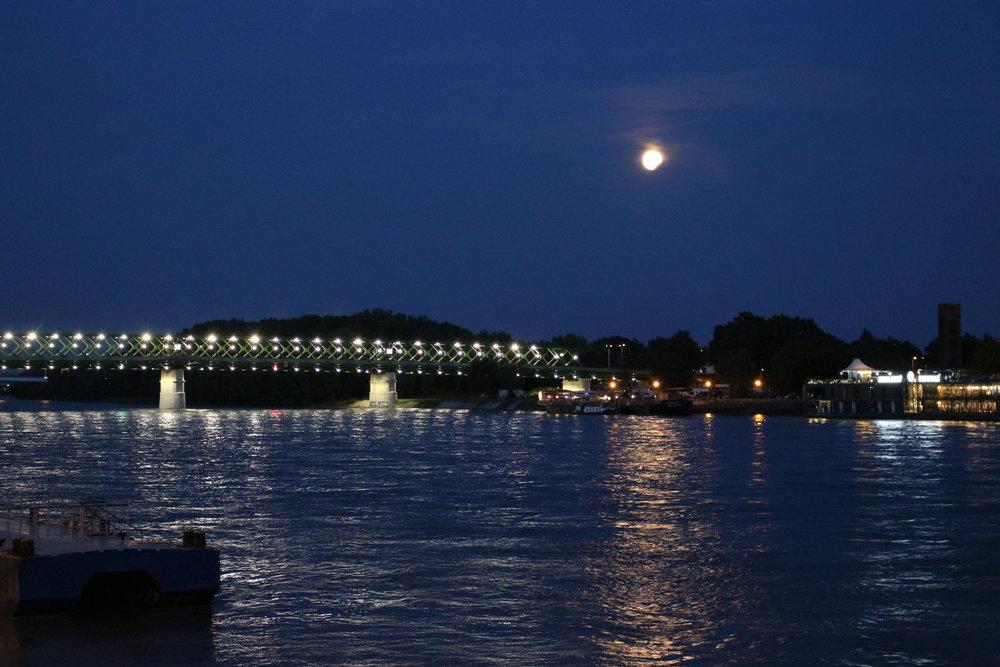 Moon over Danube in Bratislava