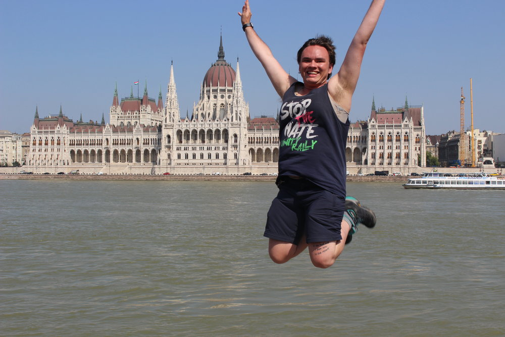 The Trans Traveller at the Hungarian Parliament Building