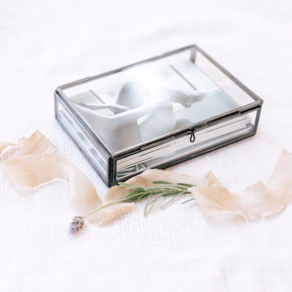 Glass Boxes - Handmade of glass and brass with a tarnished silver finish, no two will be exactly alike.Starting at 200