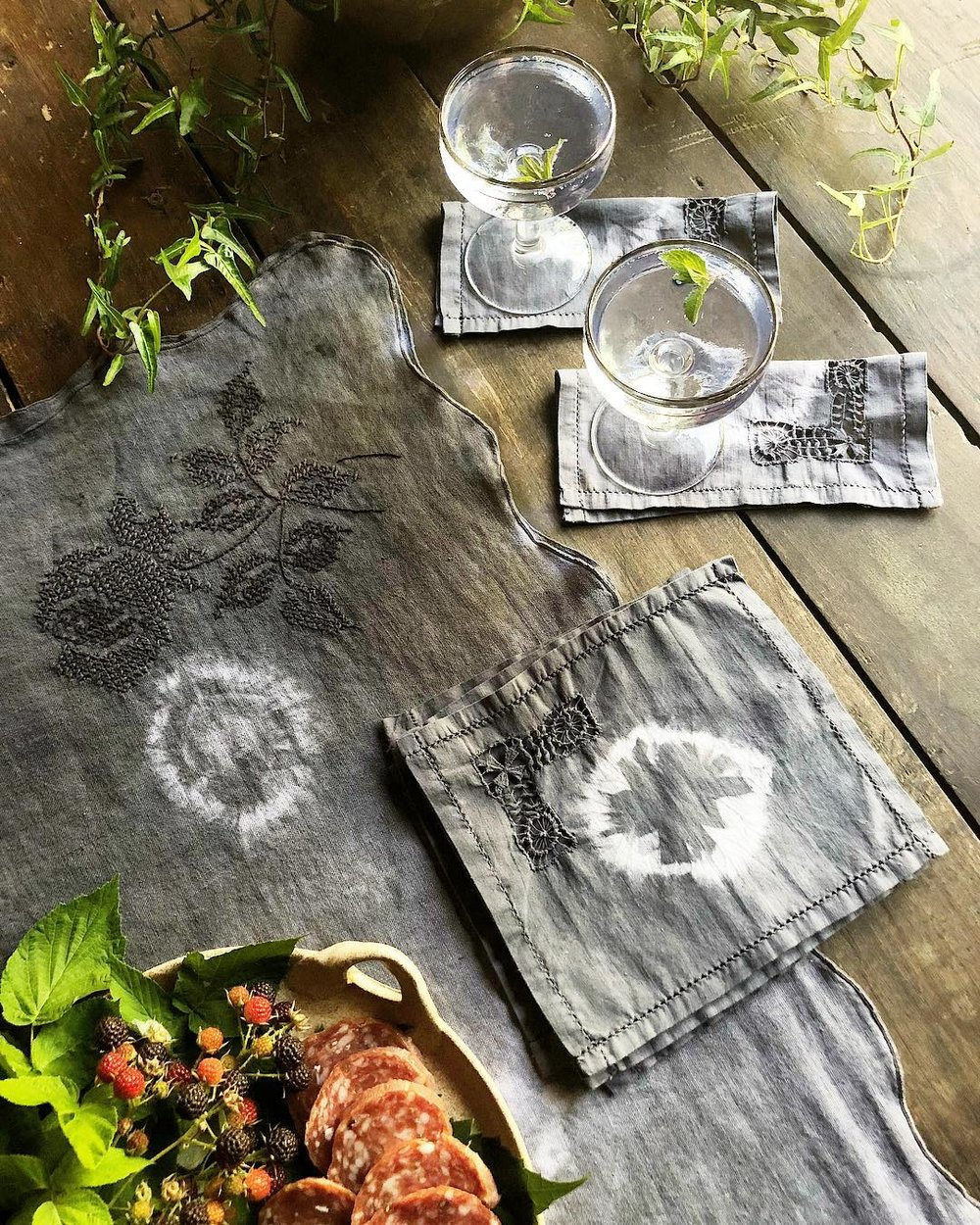 shibori - We collect vintage cotton linens that have qualities and details and then use ancient Japanese inspired techniques to resist-dye them into a diversity of unique and un-replicatable patterns.Each set or piece of our dyed linens are one of kind and produced in small batches, guaranteeing that no two will be alike..a unique and interesting way to add a touch of pattern to any space.