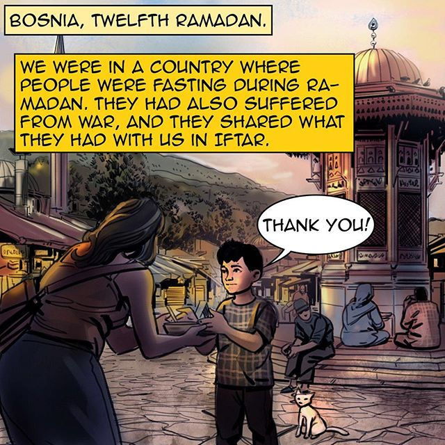 #homecomicbook #ramadan #ramadan2017 #na3am #comicbook #comics #comicbooks #comicarts #cat #talkingcat #refugees #kids #bosnia #kindness #sharing  #رمضان  #شهر_رمضان  #رمضان_2017 #رمضان_كريم #رمضانيات#