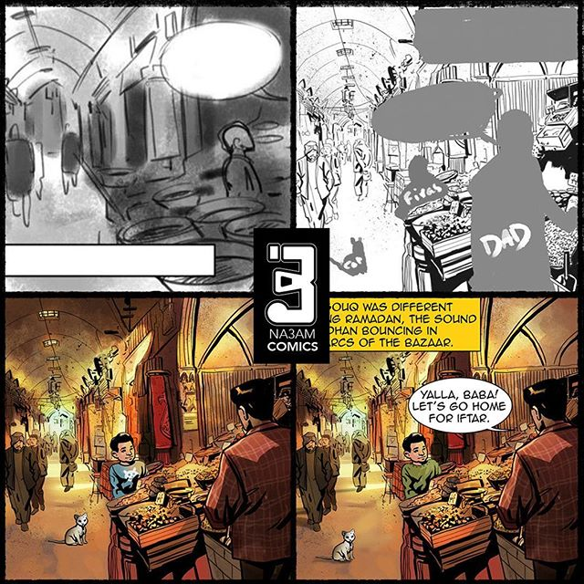 Making of HOME: 1: Artist Maysam Barza draws a rough thumbnail of the scene from the script. 2: Maysam pencils the setting and blocks in the figures, competing the mis-en-scene. 3: He finishes the image with inks and colors and adds the characters. 4: The final art corrections and lettering are added. #homecomicbook #comicbooks #comics #comic #comicbookart #makingof #na3am #na3amcomics @maysambarza