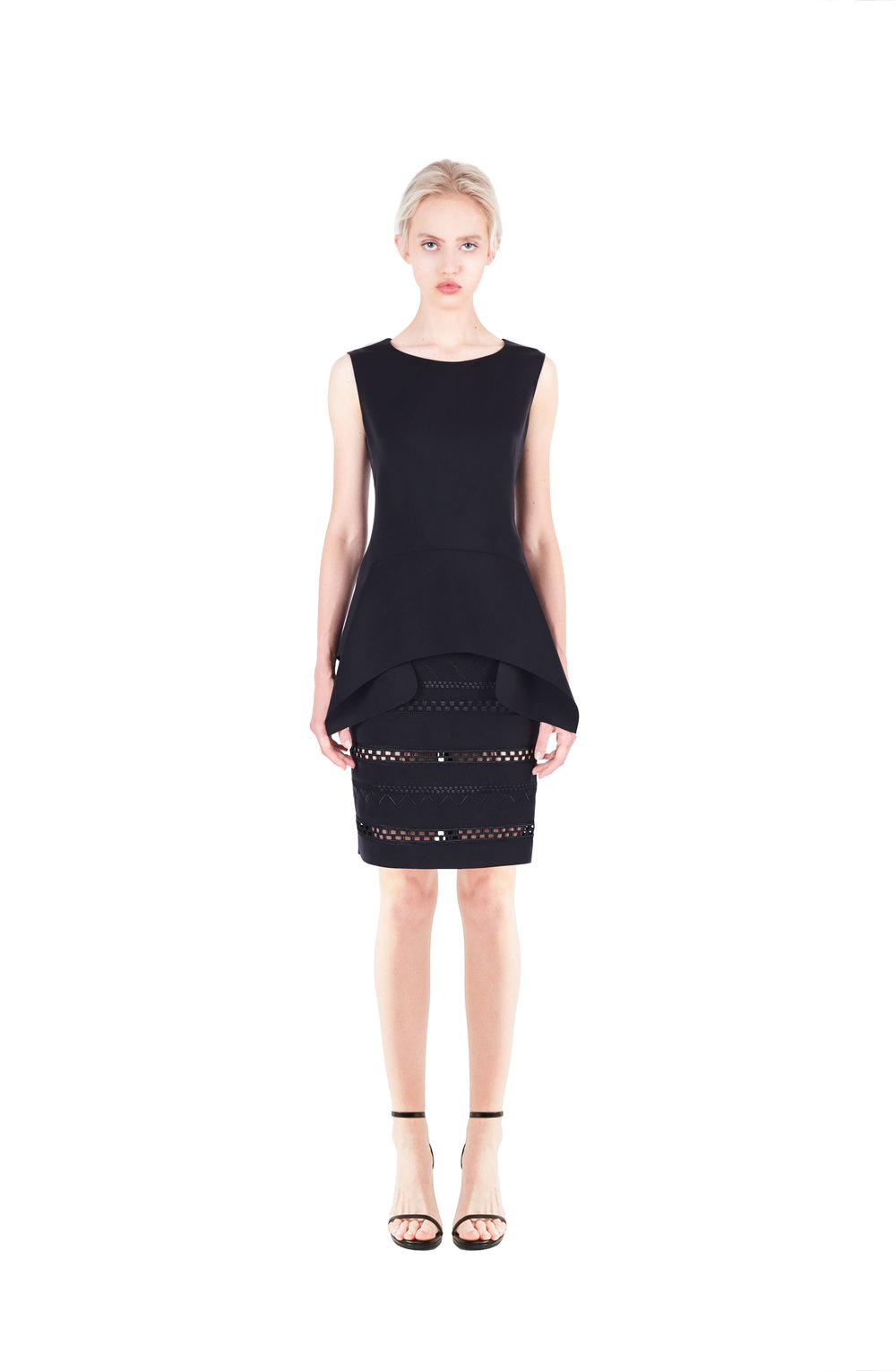 Sleeveless draped top - Embroidered pencil skirt