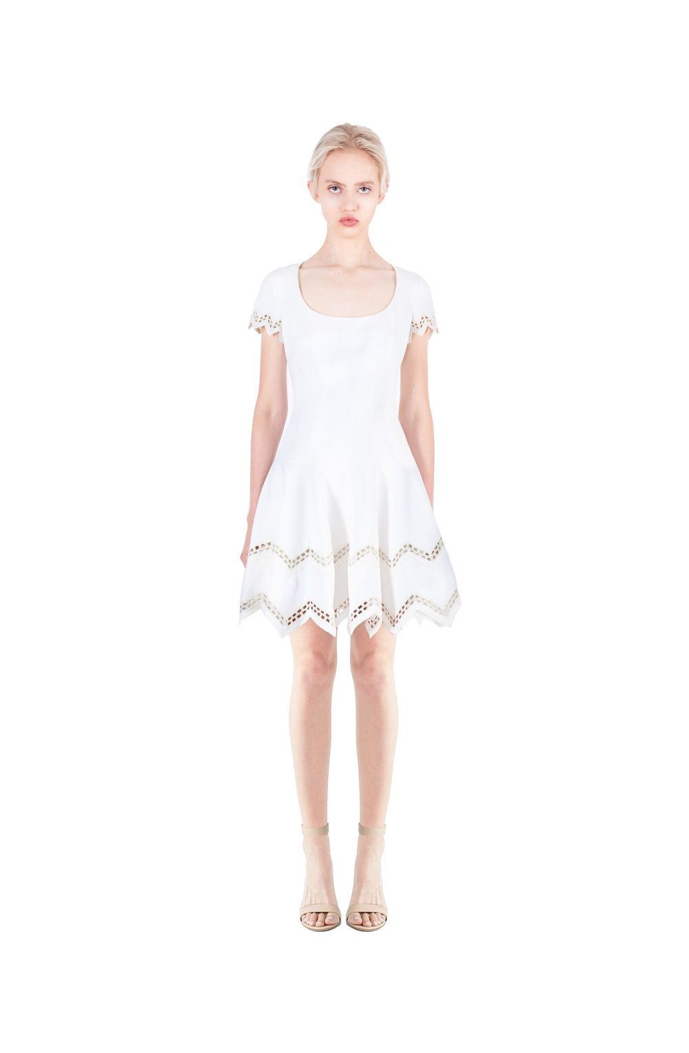 Squared neck A line embroidered dress