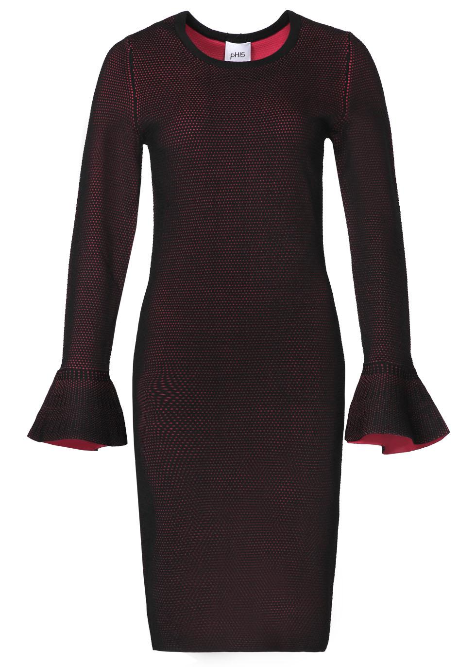 Long Sleeve Knit Dress With Ruffle Cuff-image.jpg