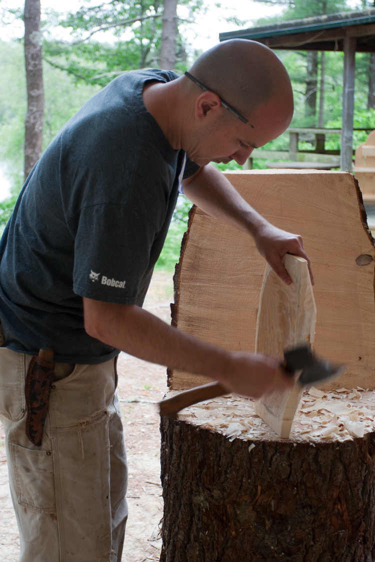 I love these chopping blocks. Stable and let you adze and ax with ease.