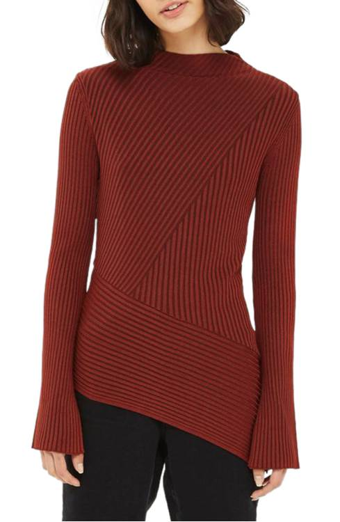 Topshop Asymmetrical Ribbed Sweater $33.99