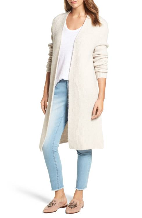 Halogen Long Ribbed Cardigan $89