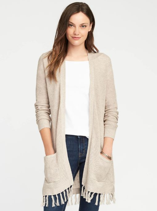 Old Navy Relaxed Open-Front Tassel-Hem Sweater $34