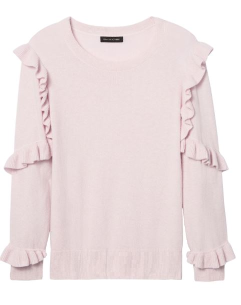 Banana Republic Italian Superloft Ruffle-Sleeve Pullover $88