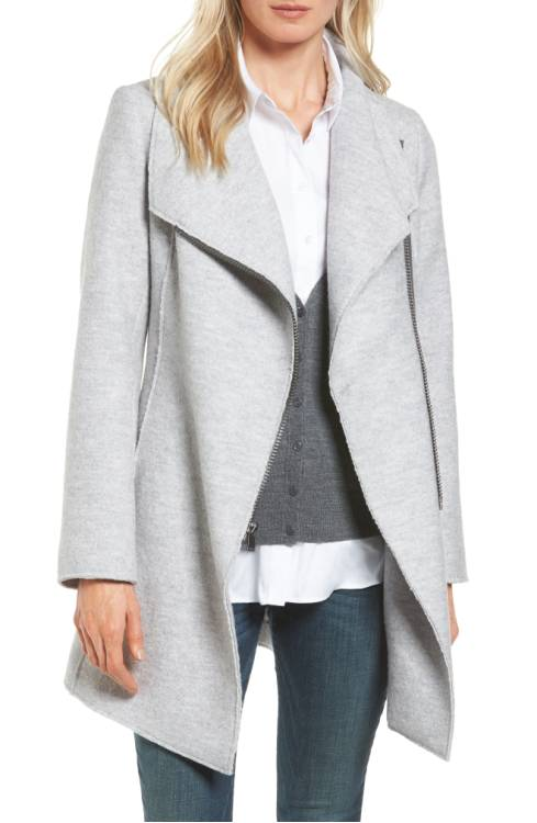 Halogen Asymmetrical Zip Boiled Wool Blend Coat $199