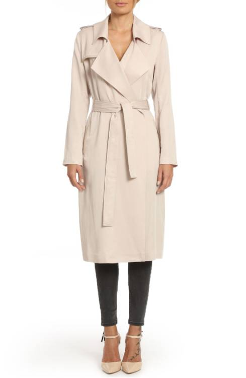 Badgley Mischka Faux Leather Trim Long Trench Coat $129.50