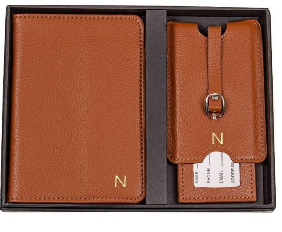 Cathy's Concepts Monogram Passport Case & Luggage Tag $73