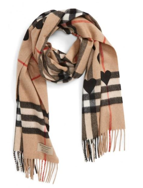 Burberry Heart & Giant Check Fringed Cashmere Scarf $650