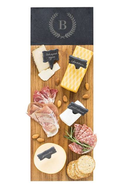 Cathy's Concepts Monogram Acacia Wood Cheese Board $84