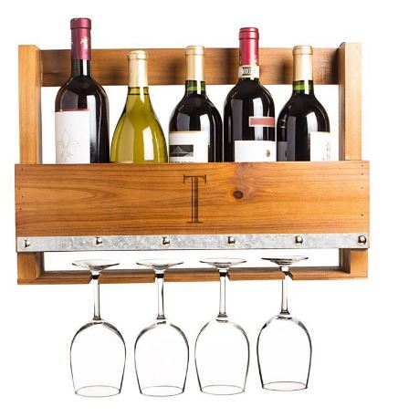Cathy's Concepts Personalized Rustic Wall Wine Rack & Glass Holder $95