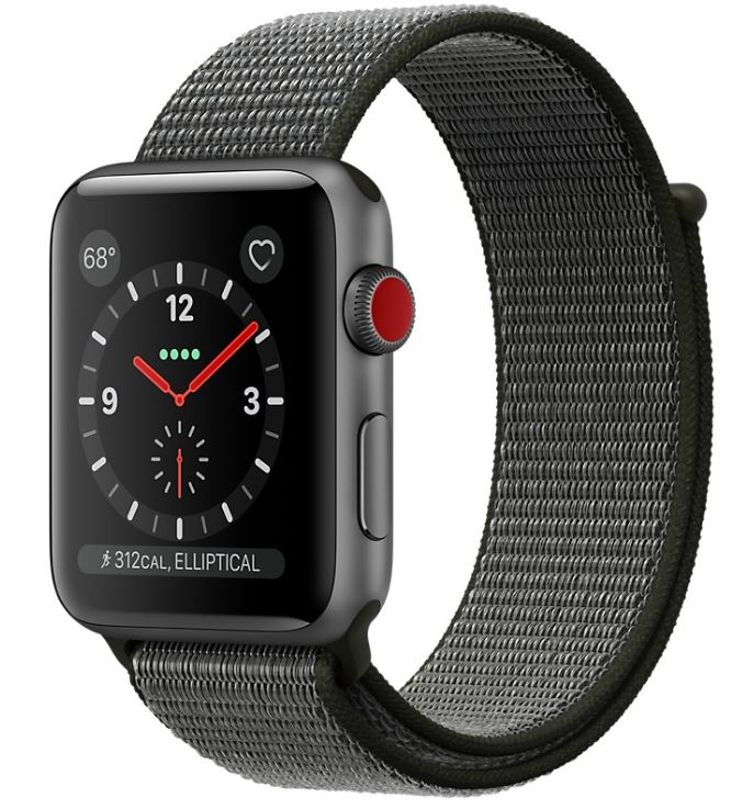 Apple Watch Space Gray Aluminum Case with Dark Olive Sport Loop $399