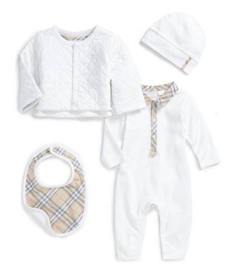 BURBERRY Zayden Romper, Jacket, Hat & Bib Set $295