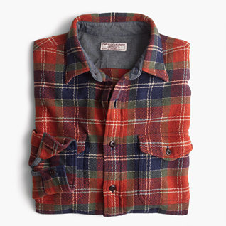 J. Crew Wallace & Barnes heavyweight flannel shirt in red leaf plaid $98 25% OFF FULL PRICE W/ CODE CHACHING