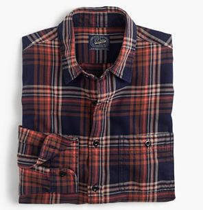 J. Crew Midweight flannel shirt in rust and navy plaid $80 25% OFF FULL PRICE W/ CODE CHACHING
