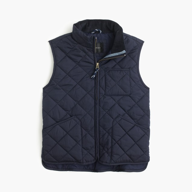 J. Crew Boys' Sussex quilted vest $78  25% OFF FULL PRICE W/ CODE CHACHING