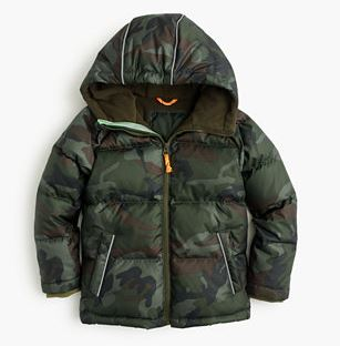 J. Crew Boys' camo puffer jacket $118  25% OFF FULL PRICE W/ CODE CHACHING