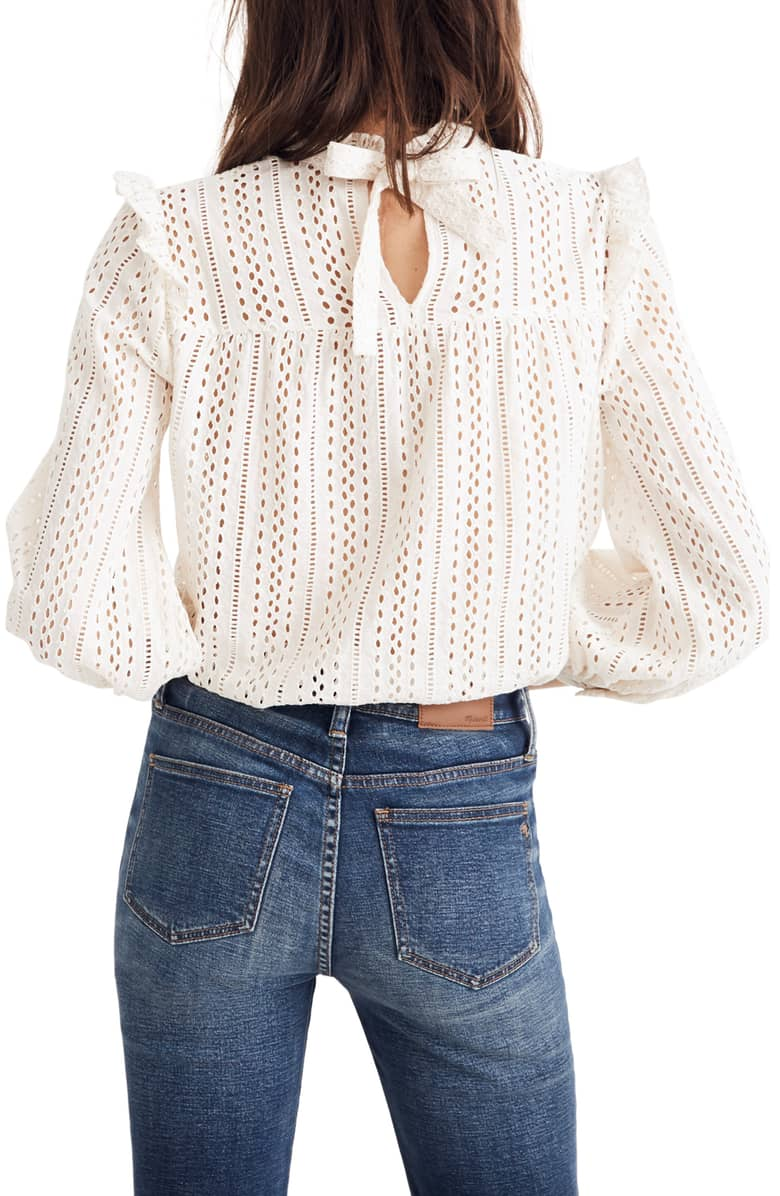 Madewell Eyelet Ruffle Mock Neck Top $92 (comes in black)