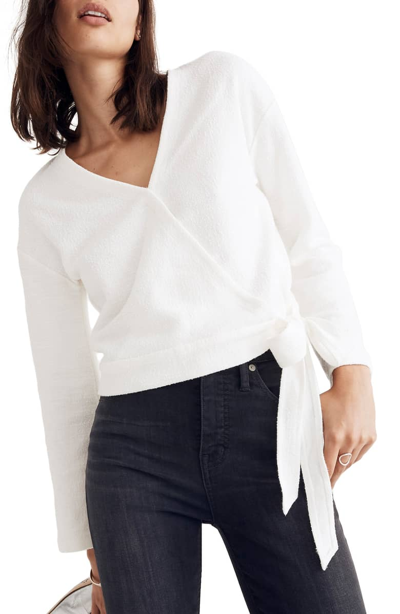 Madewell Texture & Thread Wrap Top $49