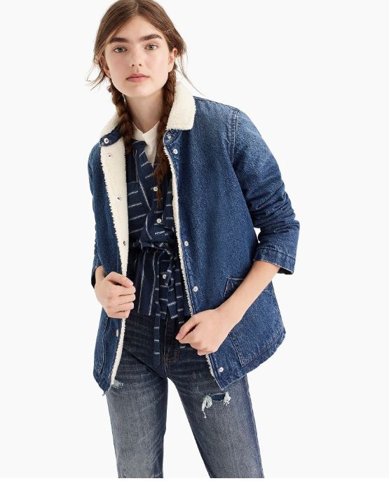 J.Crew Denim sherpa swing jacket $148