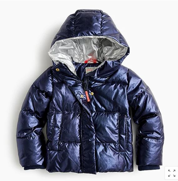 J.Crew Girls Metallic Puffer Jacket