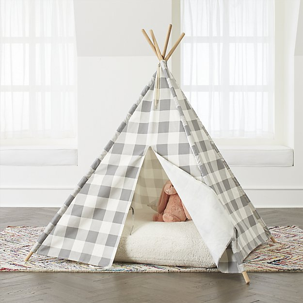 Crate & Kids Grey Buffalo Check Teepee