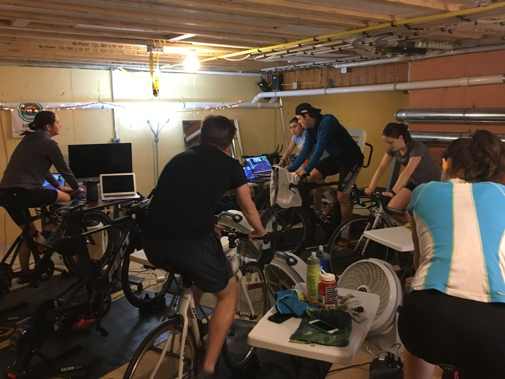 Endurance Drive athletes Zwift winter training in the Pain Cave.
