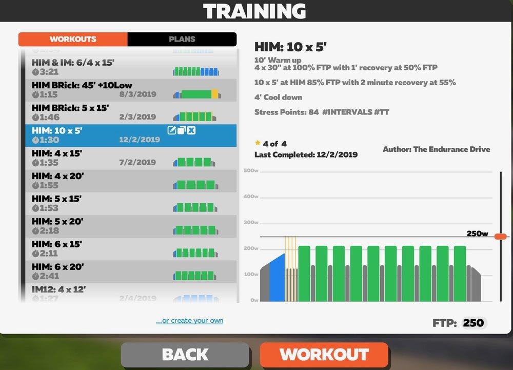 IRONMAN 70.3 / Half Distance triathlon custom Endurance Drive Zwift bike workouts