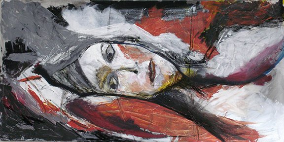 "portrait, 24""x 48"", mixed media SOLD"