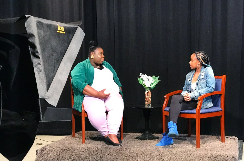 Myself, interviewing DJ Candy Raine on The Somerville Line TV Show - April 28, 2017