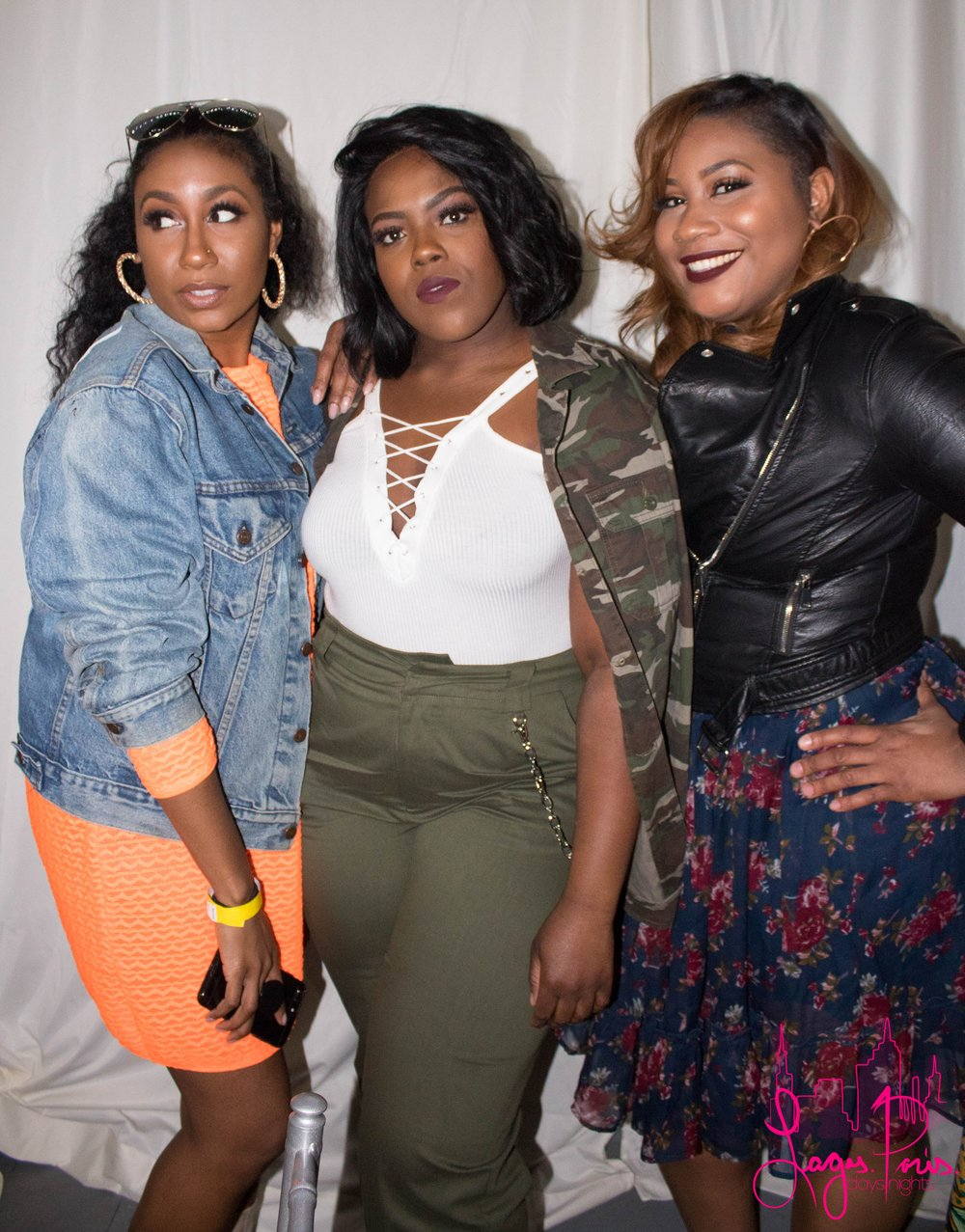 Angela Bailey (left), Nehemie August (center) and friend with the effortless slay.
