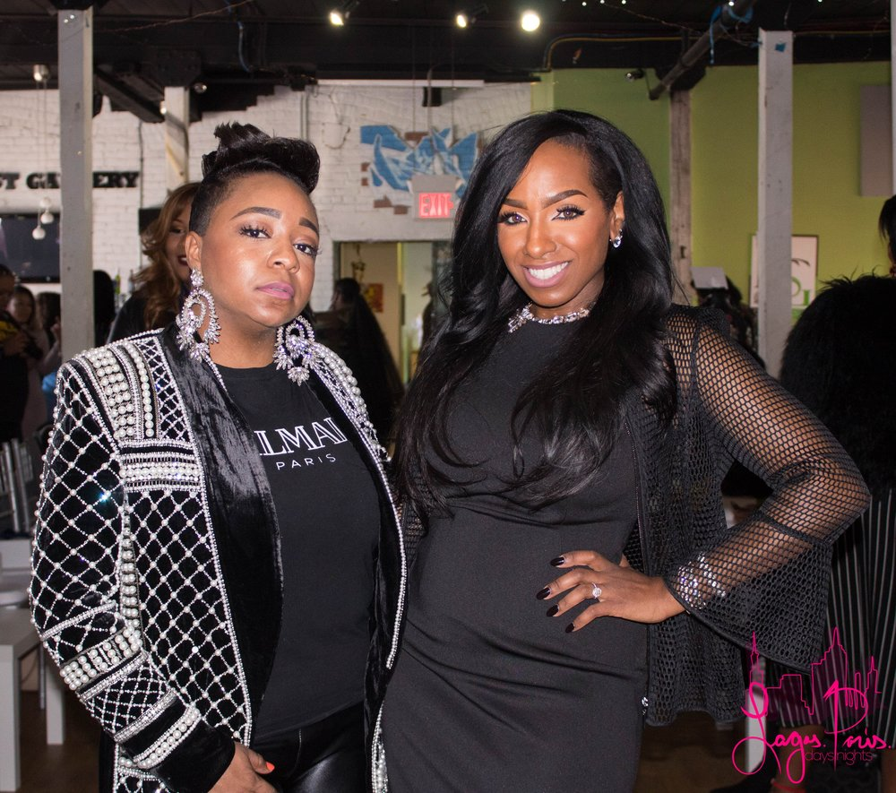 Stylist Heleena Criswell with makeup artist and photographer, Joanna Petit-Frere.