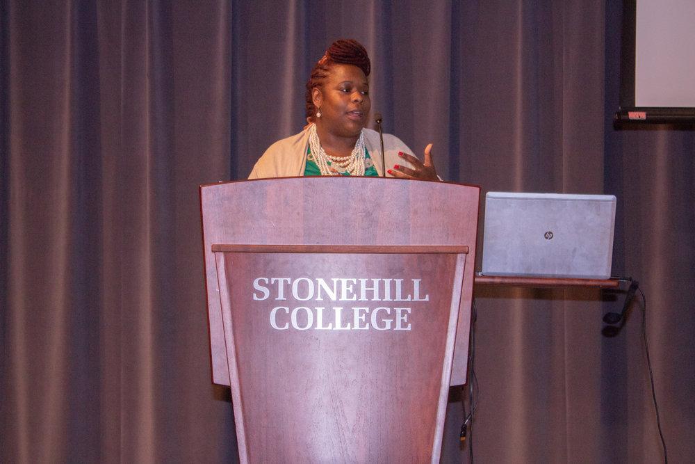 Shana Bryant giving her keynote speech.