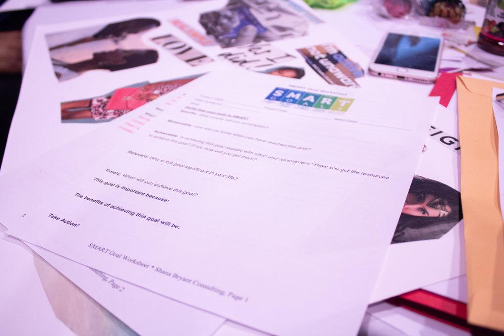 Handouts from Shana Bryant's goal setting workshop.