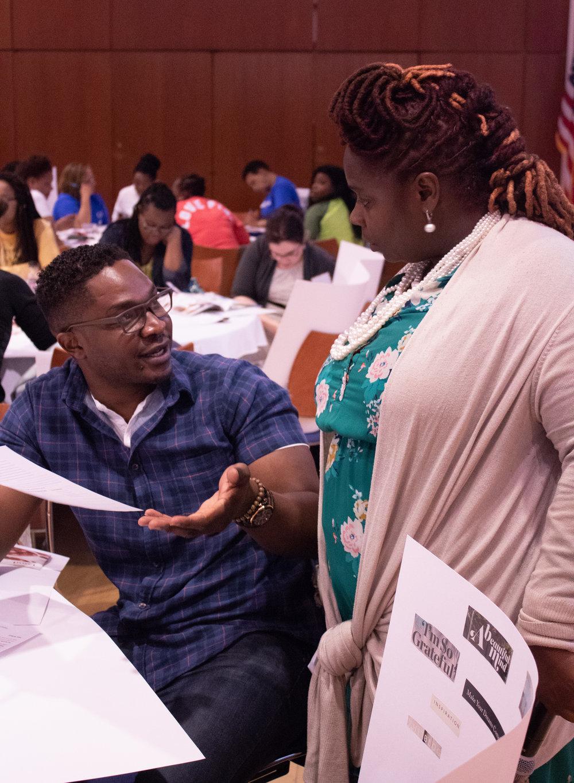 Shana Bryant discusses an attendees goals.