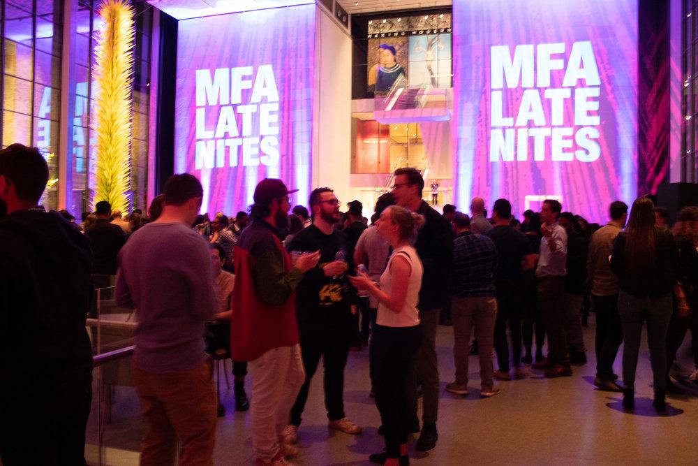 The MFA Shapiro Courtyard during the Late Nite event.