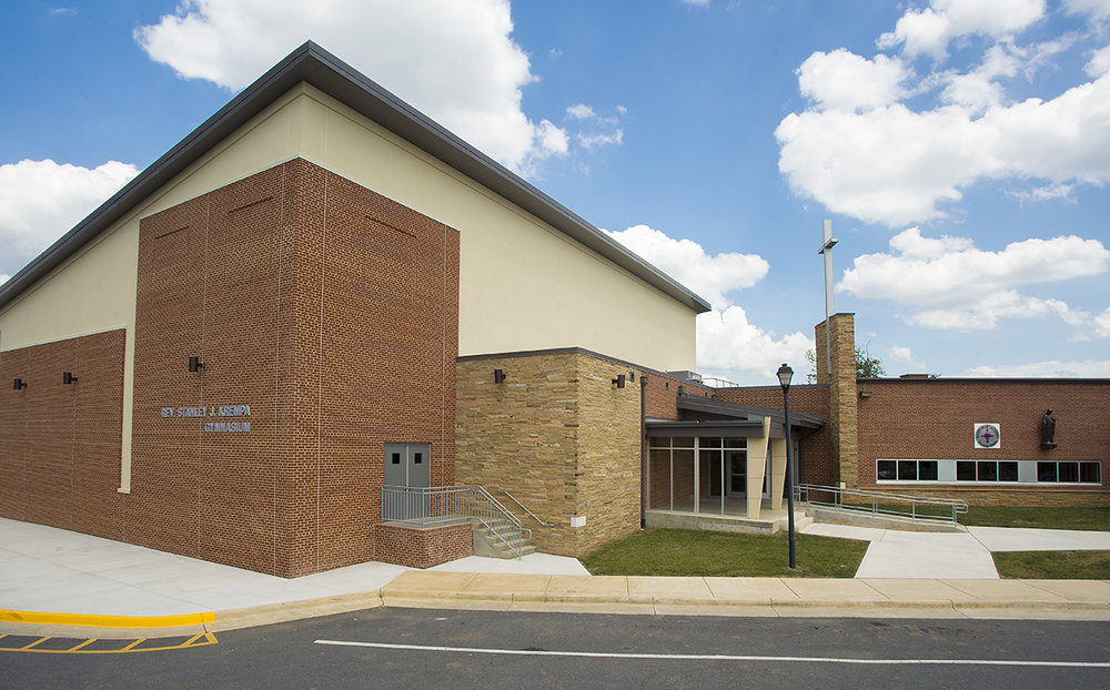 In 2008, Blue Ridge Architects designed a classroom addition to this private school in Winchester, Virginia.  As part of that project we completed a master plan that included a new gym. In 2016 we were asked to design the new gym which opened in early 2017. The facility includes locker rooms and ample storage space. The project included renovation of the existing, adjacent multipurpose room. We added a stage and expanded the existing kitchen.