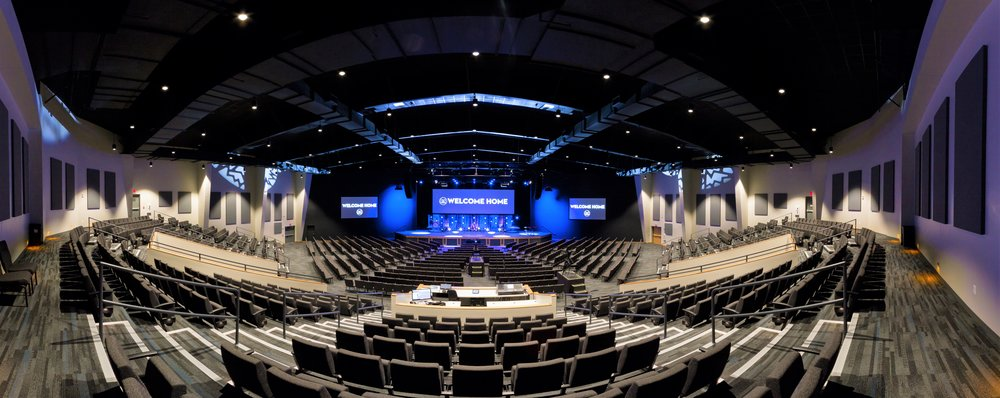 Park Valley Church – Having constructed their original, 500 person building in 2008, this fast-growing church began planning for expansion in 2014. We located a 1,300 seat auditorium to the west of the current building and created a large, two story entry to the south. The foyer has space for their beloved coffee and doughnut service, volunteer workspace, visitor's lounge and family check-in for children. The upper level of the addition has administrative spaces, a state of the art audio, video and lighting control suite and space for student ministry. The process began with master planning the current building will seamless connect to a future children's ministry building. Project completed in 2018.