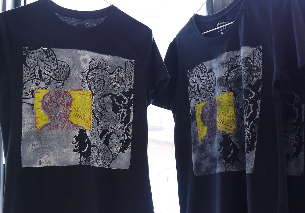 Bruce Lee (t-shirt) - linocut print on t-shirt - 2017-18.jpg