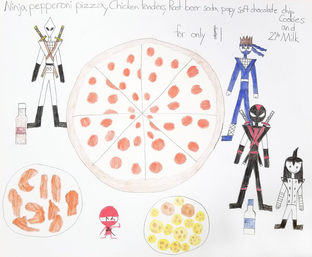 Ninja pepperoni pizza for only $1 - graphite and colored pencil - 2018.jpg