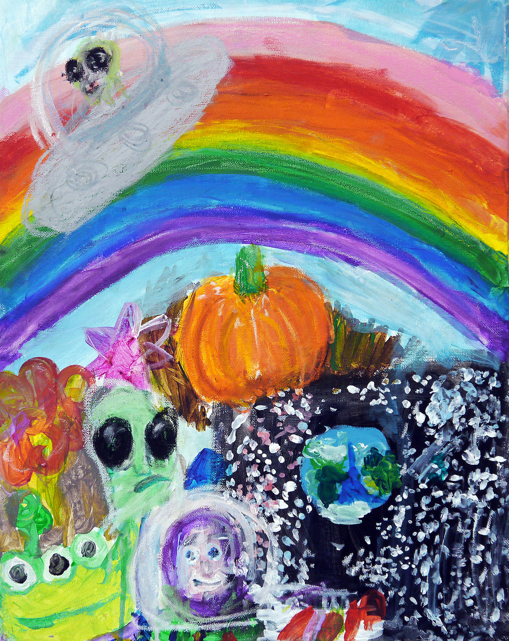 (SOLD) Alien, Pumpkin, Buzz Lightyear, Earth, Rainbow, Flower, Star - acrylic on canvas - 2017.jpg