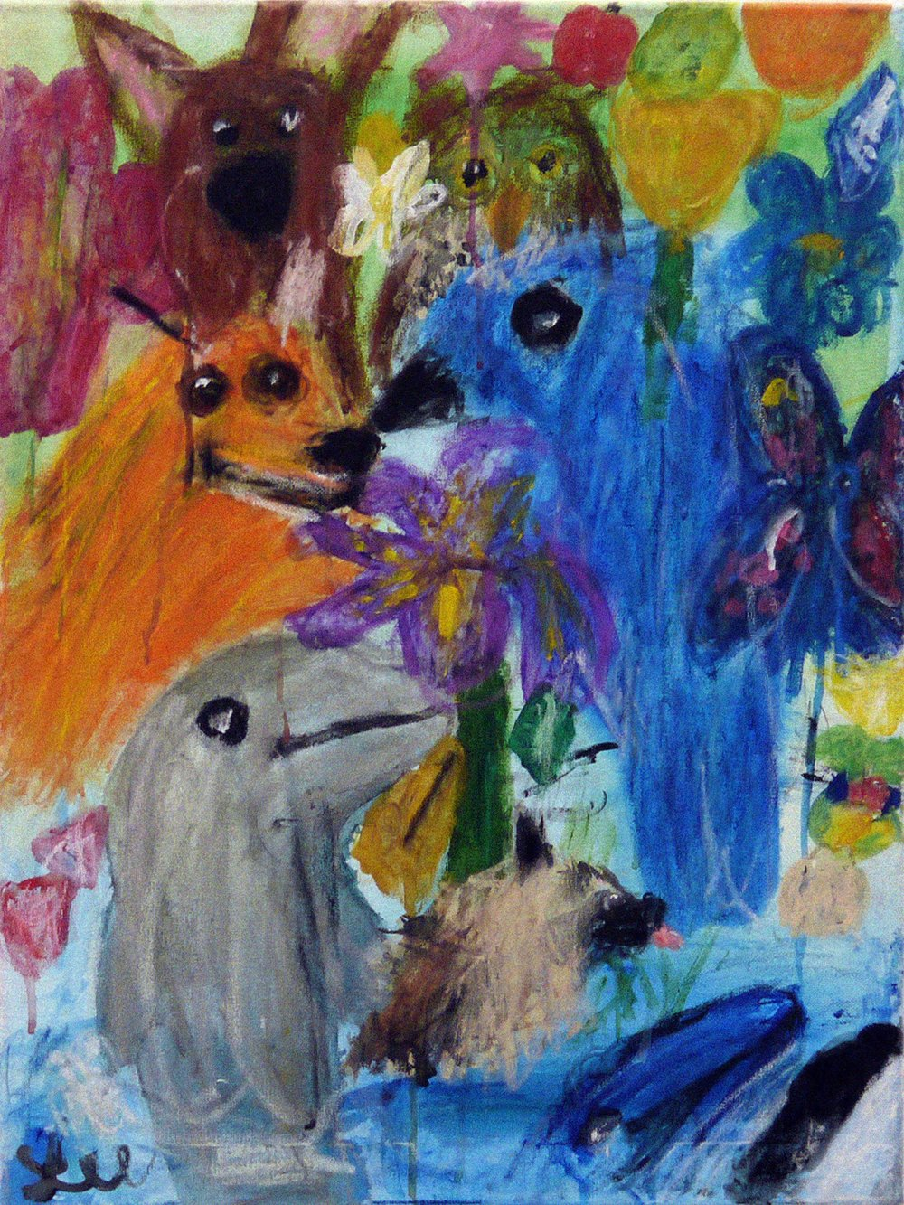Scooby Doo, A Fox, A Bluejay, a Dolphin - acrylic and oil pastel on canvas - 2017.jpg