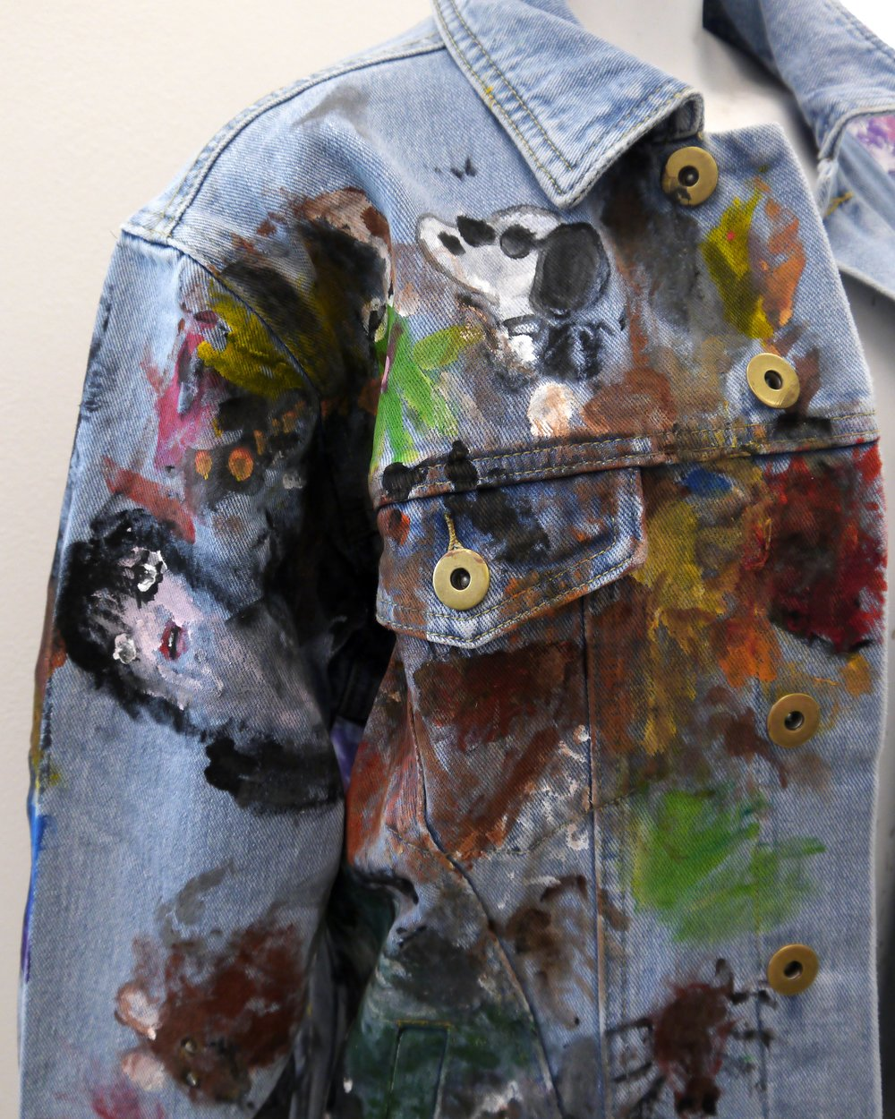(SOLD) A Cool Jacket (front, detail) - acrylic on jean jacket - 2018.jpg